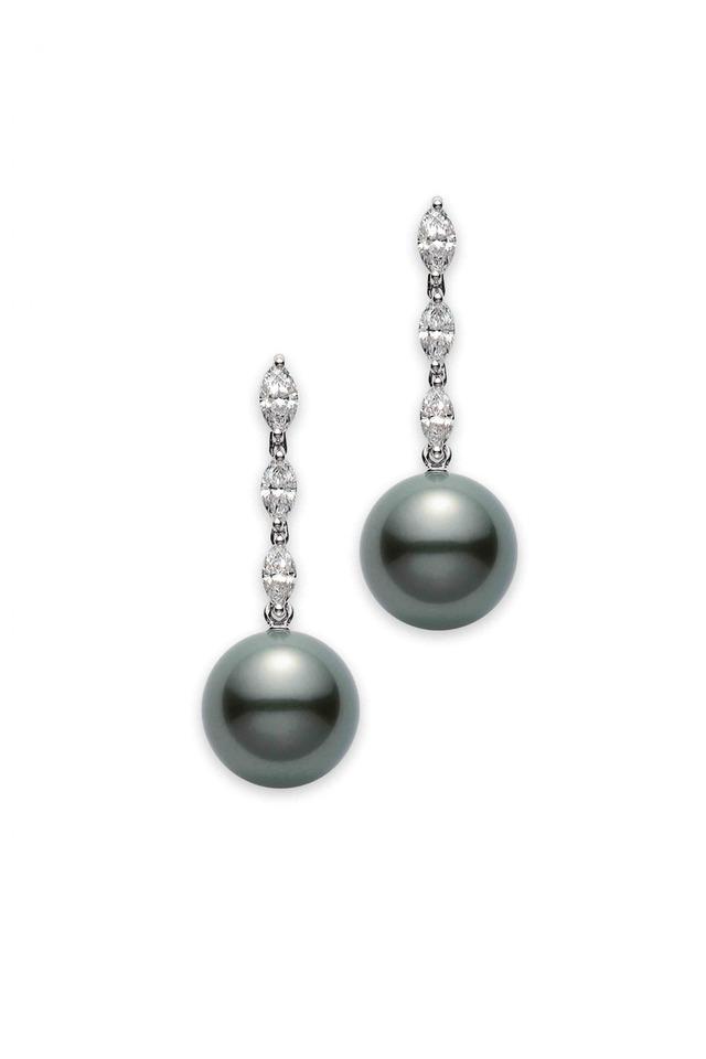 Platinum Black South Sea Pearl Diamond Earrings