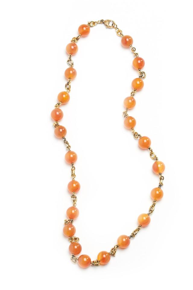 Orange Chalcedony Beaded Necklace