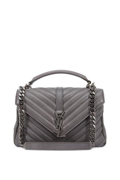 Saint Laurent - Monogram Taupe Matelassé Leather Shoulder Bag