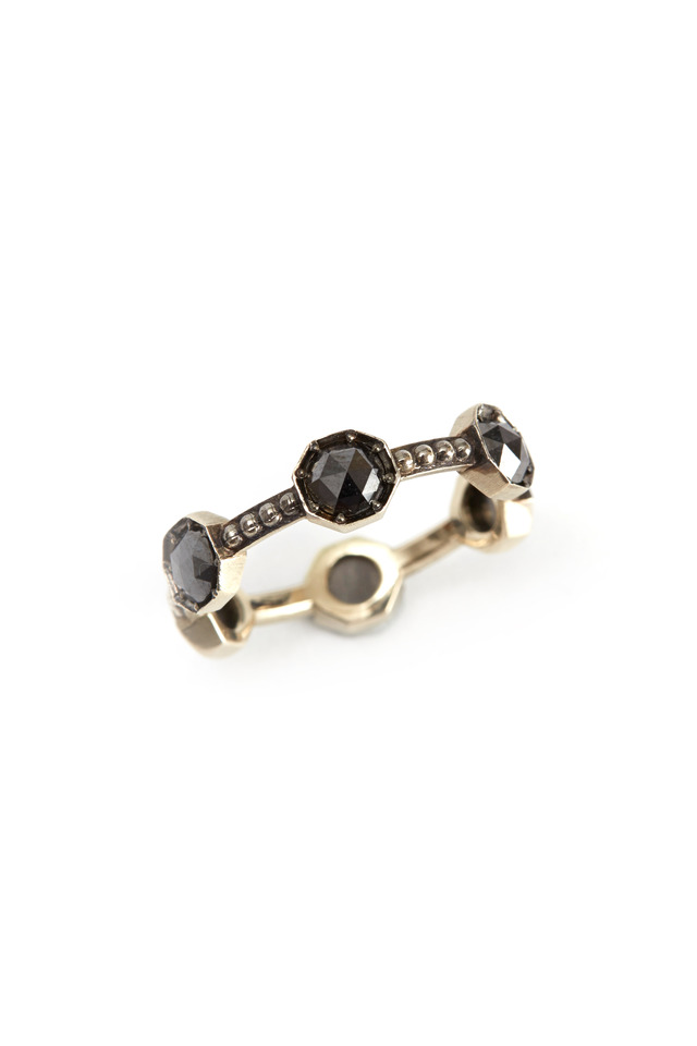 White Gold Black Diamond Caviar Band