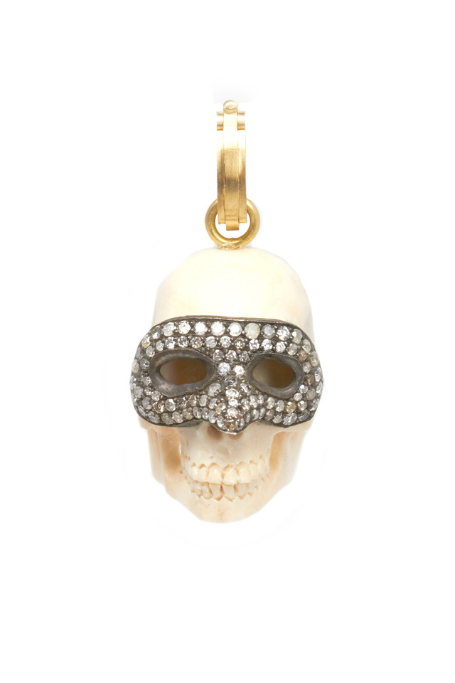 Gold & Silver Diamond Venetian Mask Skull Pendant
