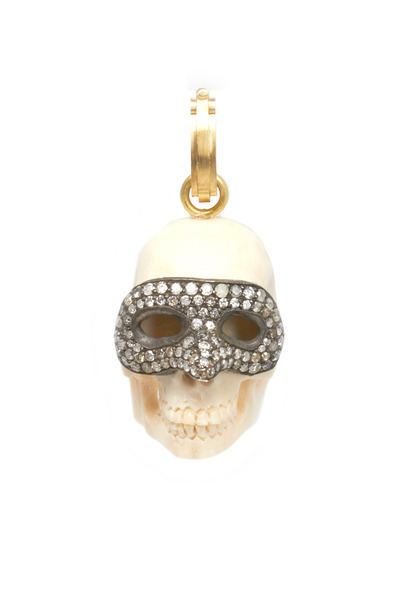 Sylva & Cie - Gold & Silver Diamond Venetian Mask Skull Pendant
