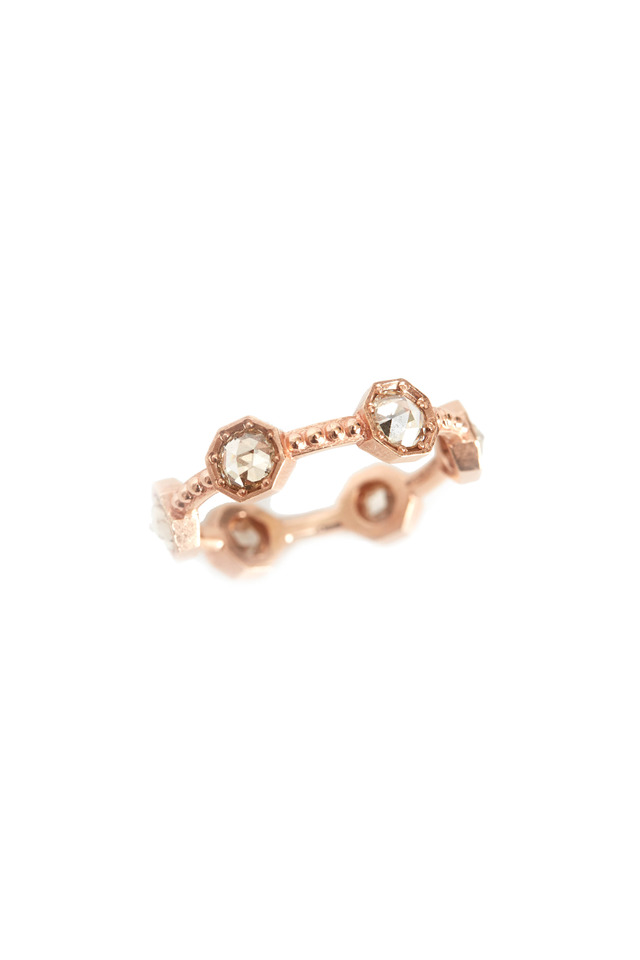 Rose Gold Champagne Diamond Caviar Band