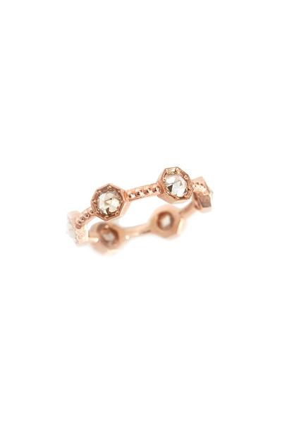 Sylva & Cie - Rose Gold Champagne Diamond Caviar Band