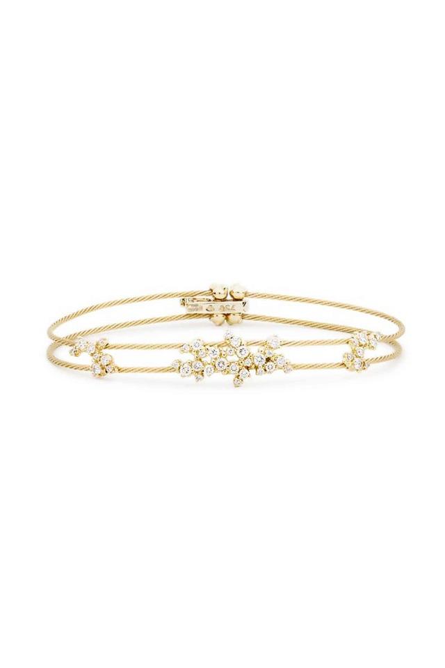 18K Yellow Gold Diamond Double Wire Bracelet