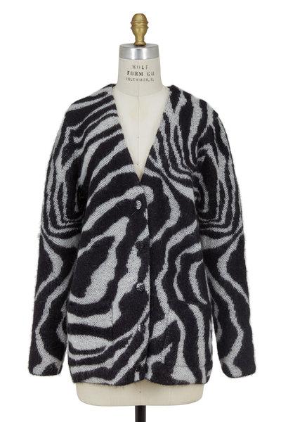 Saint Laurent - Black & White Mohair Animal Print Cardigan
