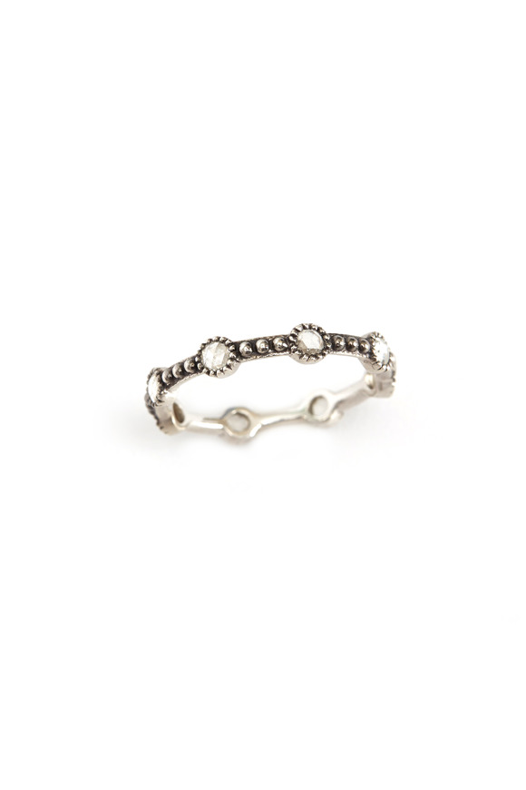 Sylva & Cie 18K White Gold Diamond Mini Caviar Band