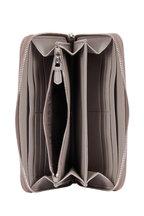 Prada - Gray Pebbled Leather Zip-Around Wallet