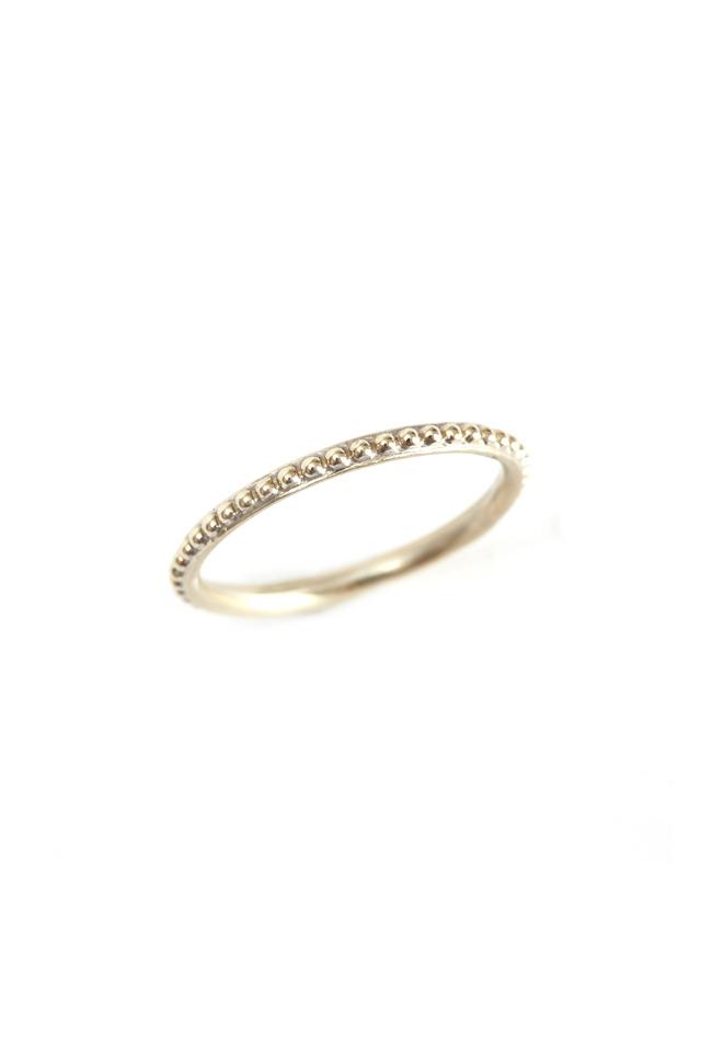 14K White Gold Caviar Band