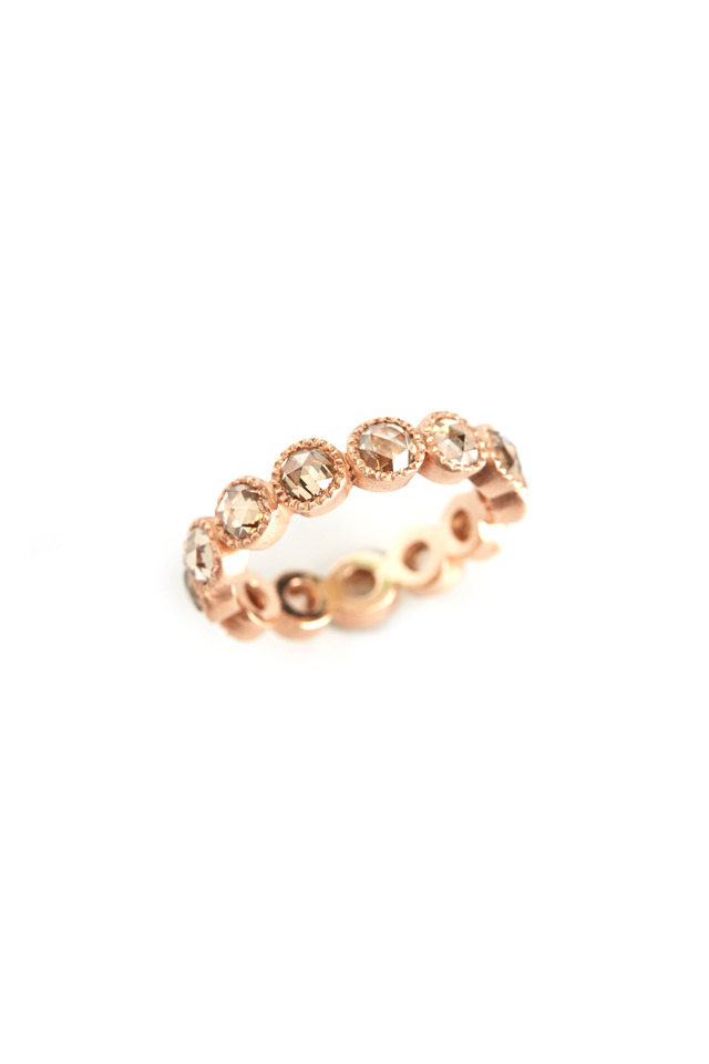 Rose Gold White Rose-Cut Diamond Ring
