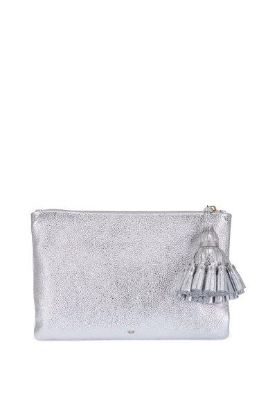 Anya Hindmarch - Georgiana Silver Metallic Leather Tassel Clutch