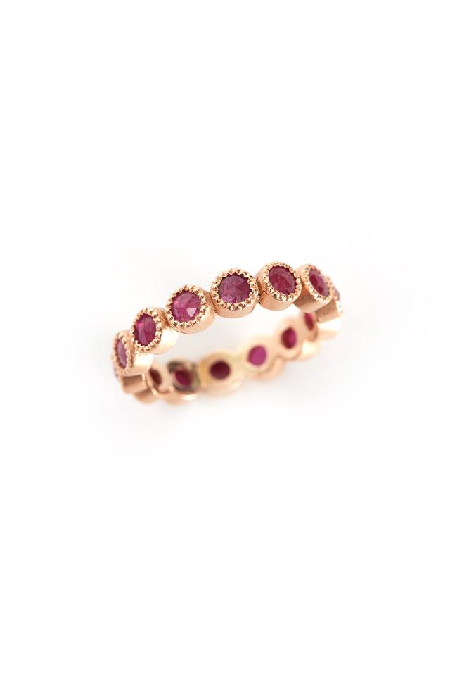 Rose Gold Rose-Cut Ruby Ring