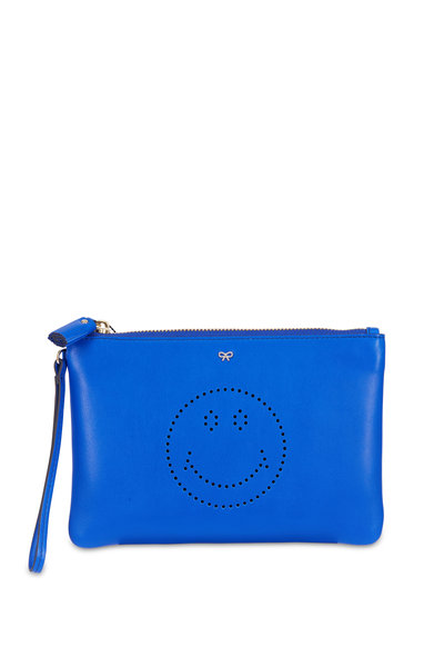 Anya Hindmarch - Electric Blue Leather Smiley Face Pouch
