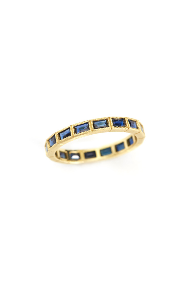 Gold French-Cut Blue Sapphire Band