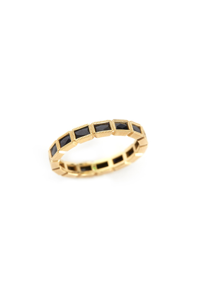 Gold French-Cut Black Sapphire Band
