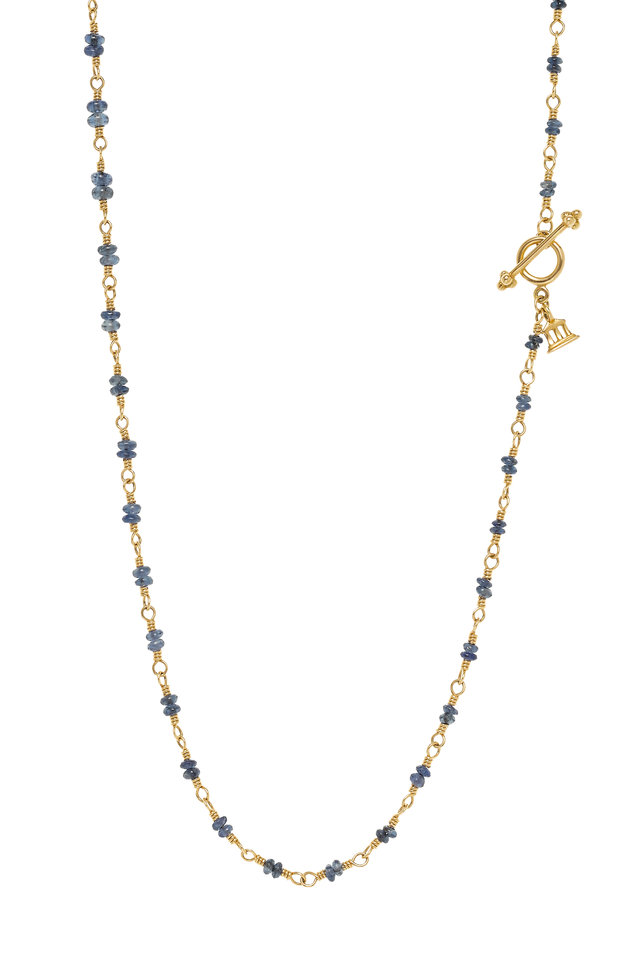 Gold Blue Sapphire Double Beaded Karina Necklace