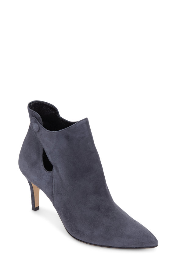 Sarah Flint Crawford Slate Suede Keyhole Ankle Boot, 70mm