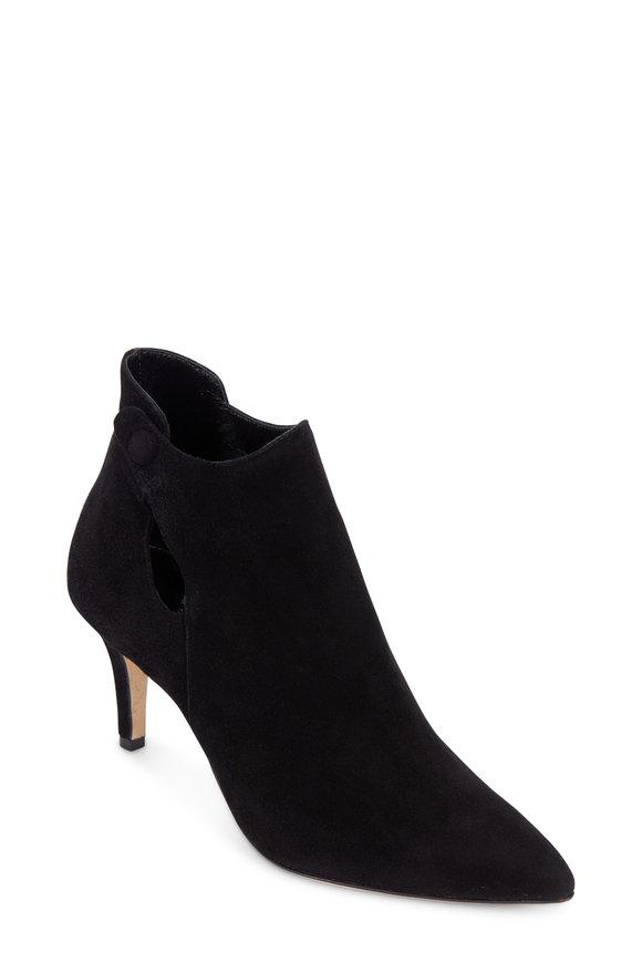 Sarah Flint Crawford Black Suede Keyhole Ankle Boot, 70mm