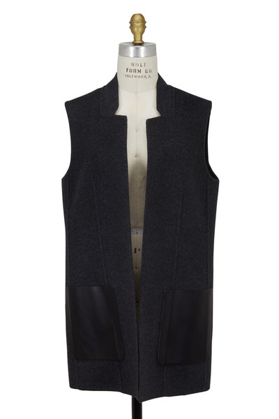 Michael Kors Collection - Charcoal Gray Double-Faced Wool Vest