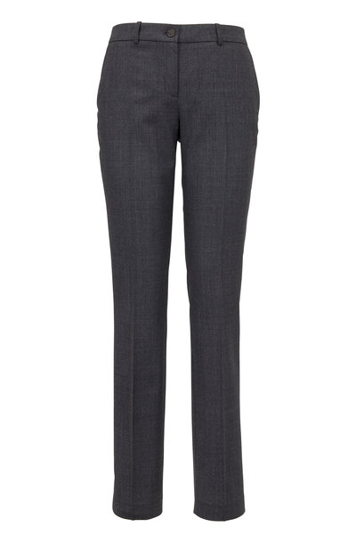 Michael Kors Collection - Charcoal Gray Stretch Wool Pants