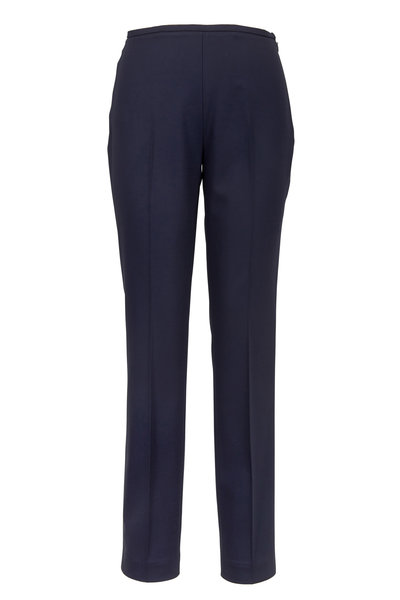 Michael Kors Collection - Navy Blue Stretch Wool Cigarette Pants