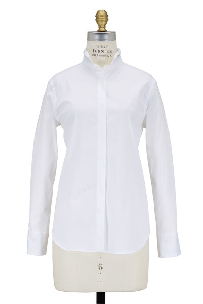 Brunello Cucinelli - White Silk Neck with Monili Trim Blouse