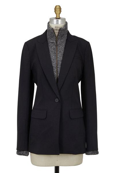 Veronica Beard - Black Wool Blazer With Ribbed Wool Dickey