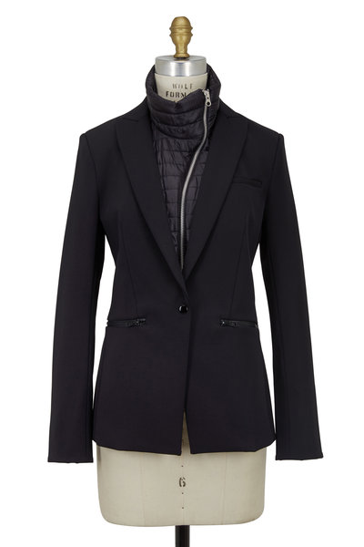 Veronica Beard - Black Scuba Blazer With Quilted Nylon Dickey