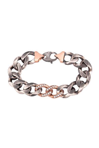 Sylva & Cie - 14K Rose Gold & Silver Diamond Link Bracelet