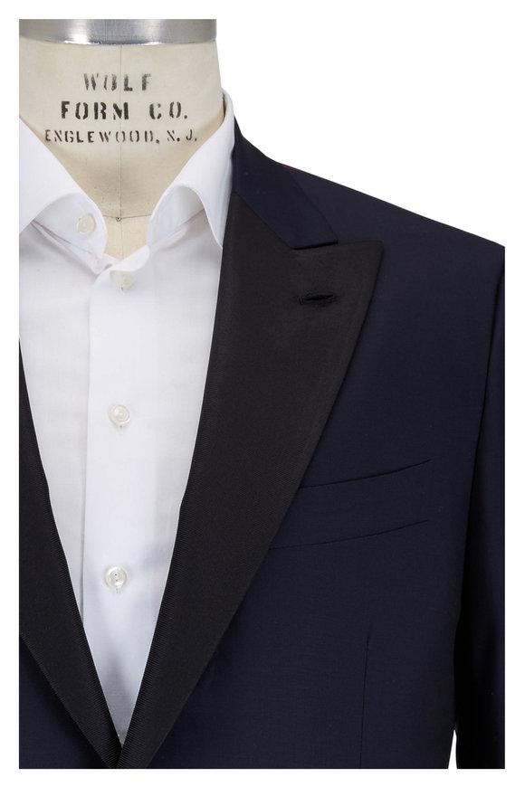 Isaia Navy Blue Aquaspider Wool Tuxedo