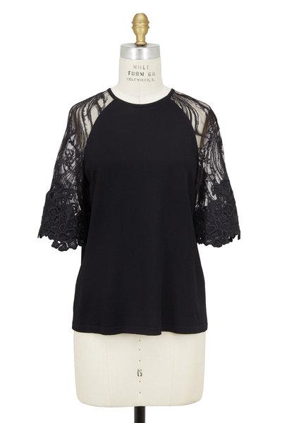 Elie Saab - Black Embroidered Lace Sleeve Top