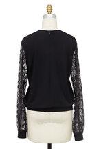 Elie Saab - Black Embroidered Lace Yoke & Sleeve Top