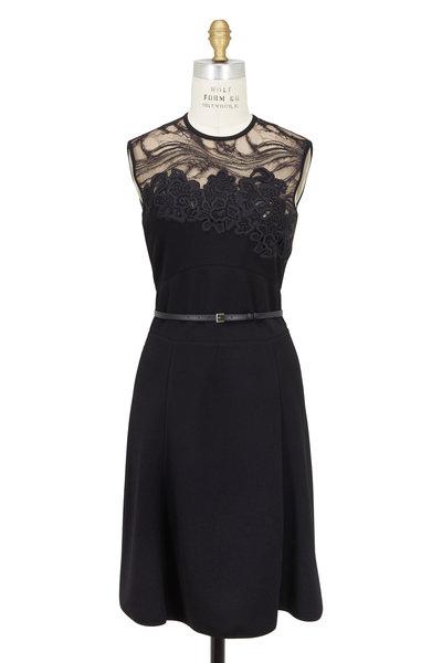 Elie Saab - Black Embroidered Lace Yoke Belted Dress