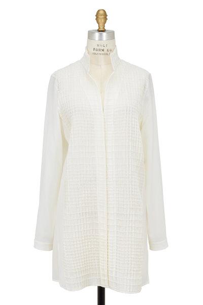 Akris - Off White Wool Grid Tunic Blouse
