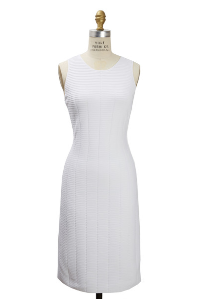 Giorgio Armani - White Ottoman North South Crewneck Knit Dress