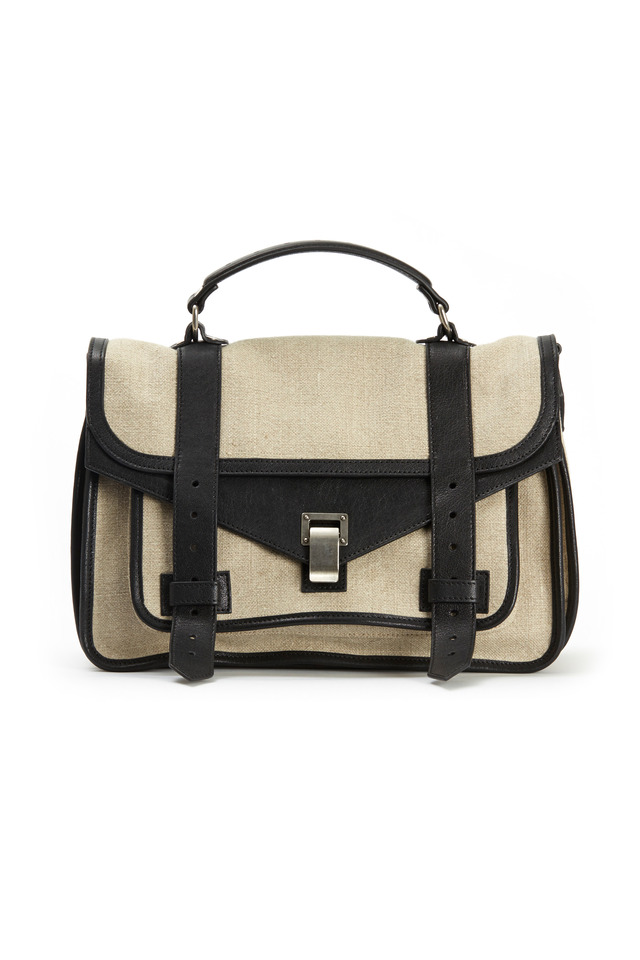 PS1 Natural & Black Linen Medium Satchel