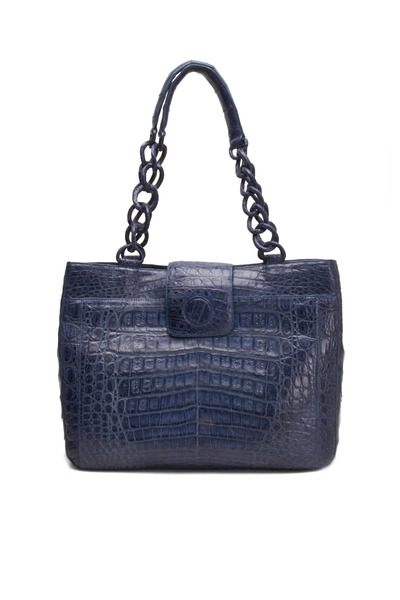 Nancy Gonzalez - Denim Blue Crocodile Small Tote