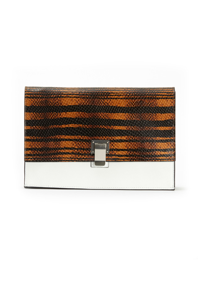 Tiger Print Snakeskin Lunch Clutch