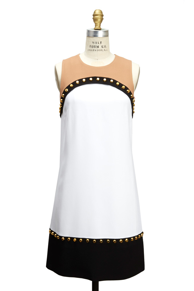 Colorblocked Double Crepe Sable Studded Dress