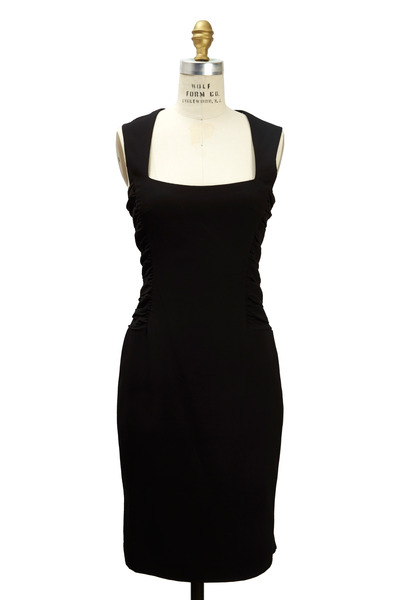 L'Agence - Black Polyester Crepe Dress