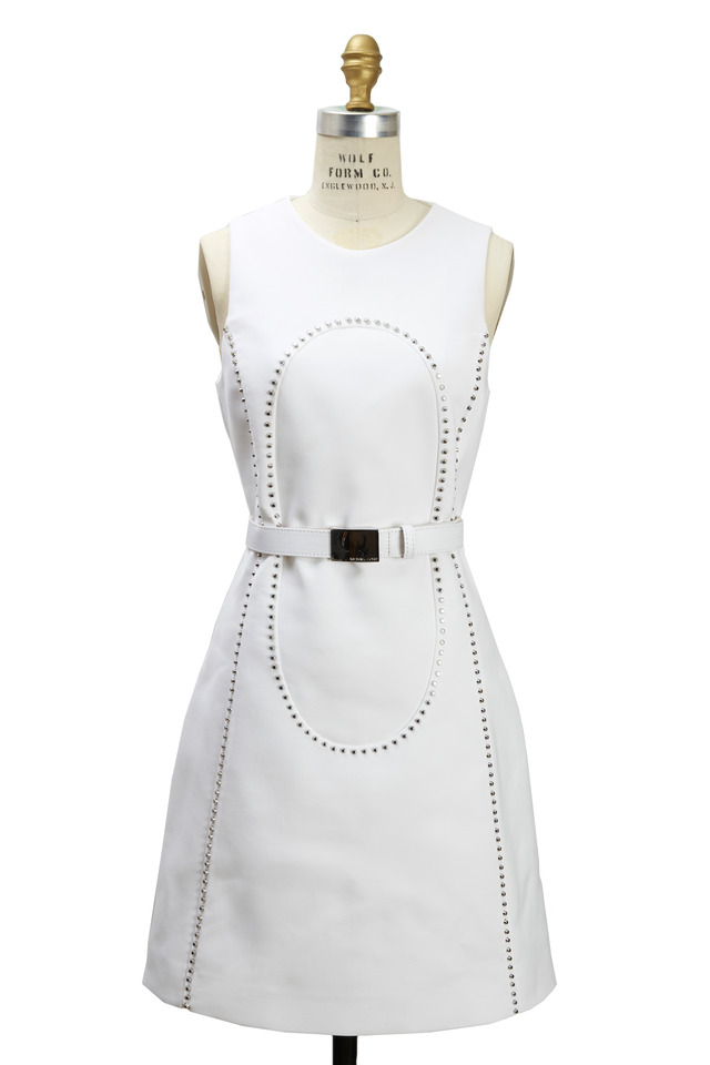 White Crepe Sleeveless Studded Shift Dress