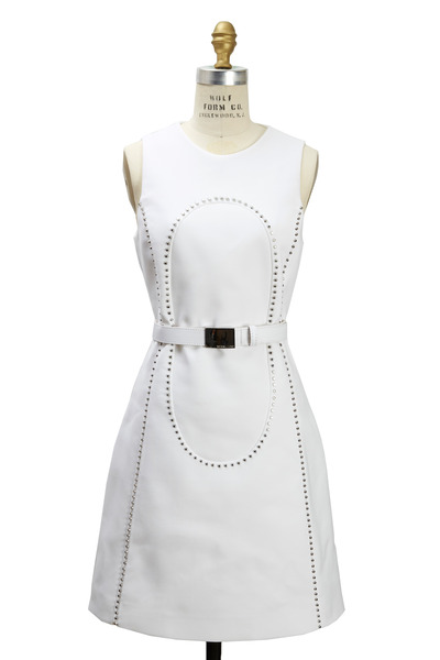 Michael Kors Collection - White Crepe Sleeveless Studded Shift Dress