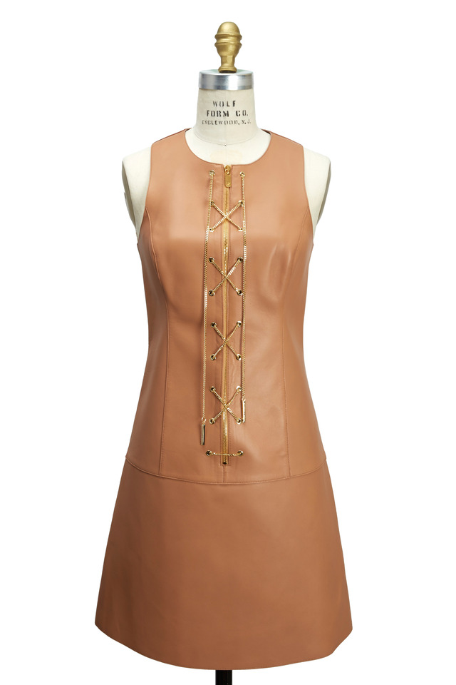 Suntan Bonded Leather Chain Front Dress