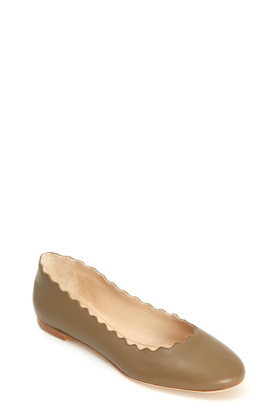 Chloé - Lauren Khaki Leather Scalloped Ballet Flat