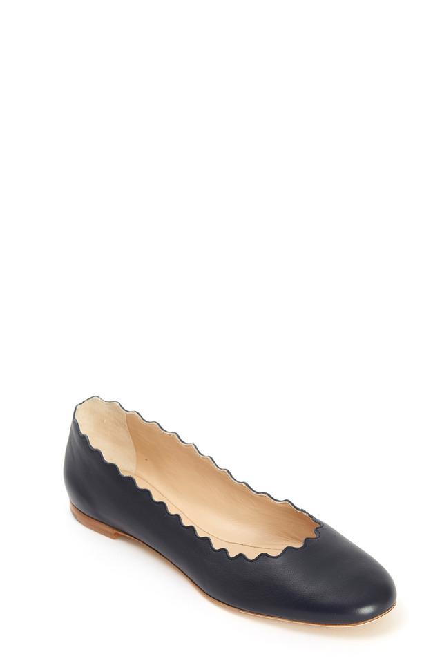 Lauren Navy Blue Leather Scalloped Ballet Flats