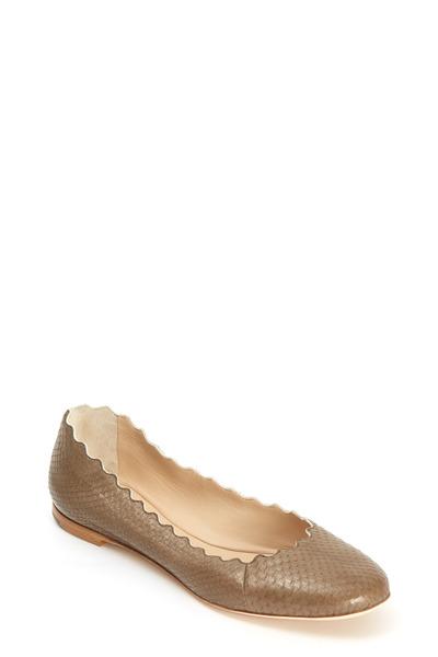 Chloé - Lauren Taupe Snakeskin Scalloped Ballet Flat