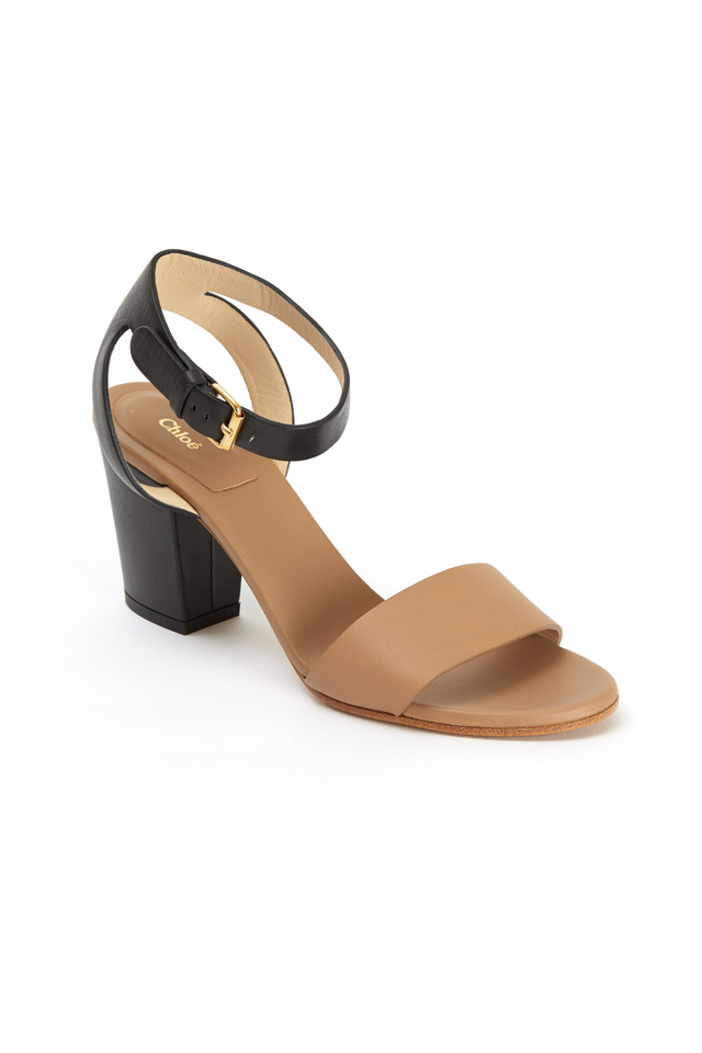 Taupe & Black Leather Ankle-Strap Sandal, 70mm