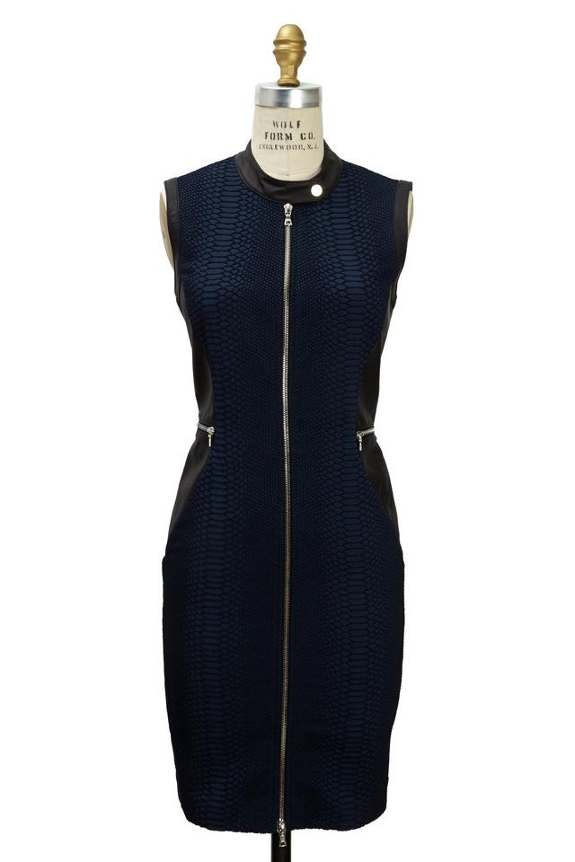 Black & Navy Jacquard & Leather Reptile Dress