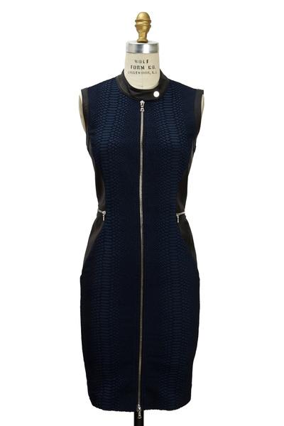 Yigal Azrouël - Black & Navy Jacquard & Leather Reptile Dress