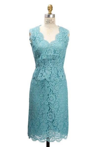 Valentino - Aqua Lace Bambolina Dress